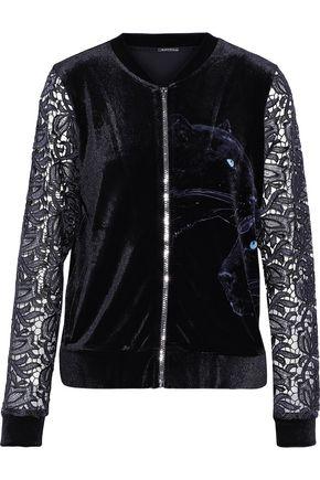 ELIE TAHARI Jaclynne guipure lace-paneled printed velvet jacket