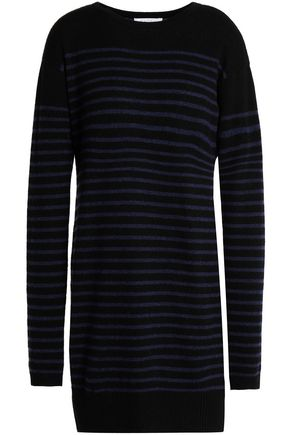 DUFFY Striped cashmere mini dress