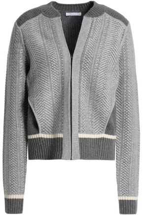 DUFFY Paneled wool and cashmere-blend cardigan