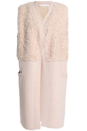 DUFFY Shearling and wool and cashmere-blend vest