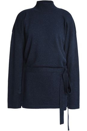 DUFFY Belted cutout cashmere sweater