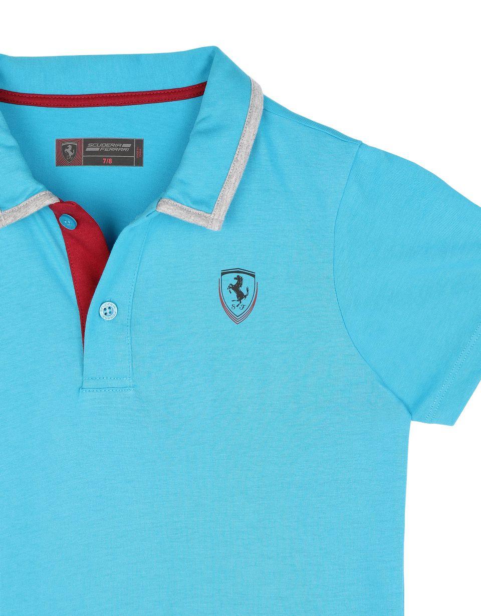 Scuderia Ferrari Online Store - Polo de punto elástico de algodón para chico - Polos de manga corta