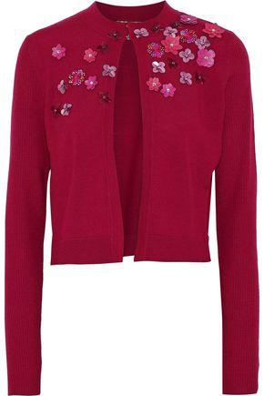 ELIE TAHARI Elissia embellished rib-paneled merino wool cardigan