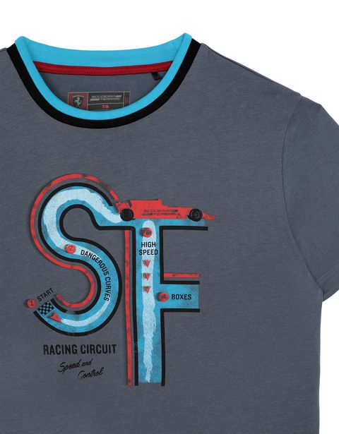Scuderia Ferrari Online Store - Boys' T-shirt with racing circuit print - Short Sleeve T-Shirts