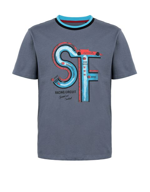 Boys' T-shirt with racing circuit print
