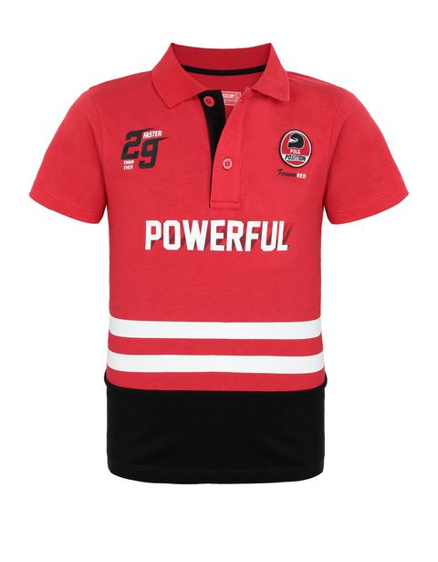 Boys' jersey polo shirt with prints and patches