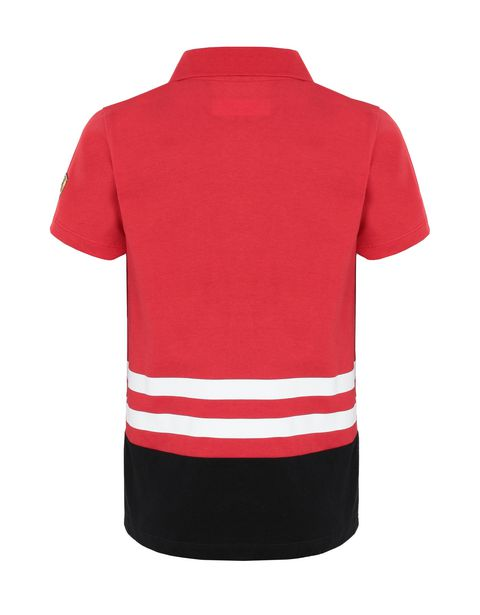 Boys' jersey polo shirt with prints and patch