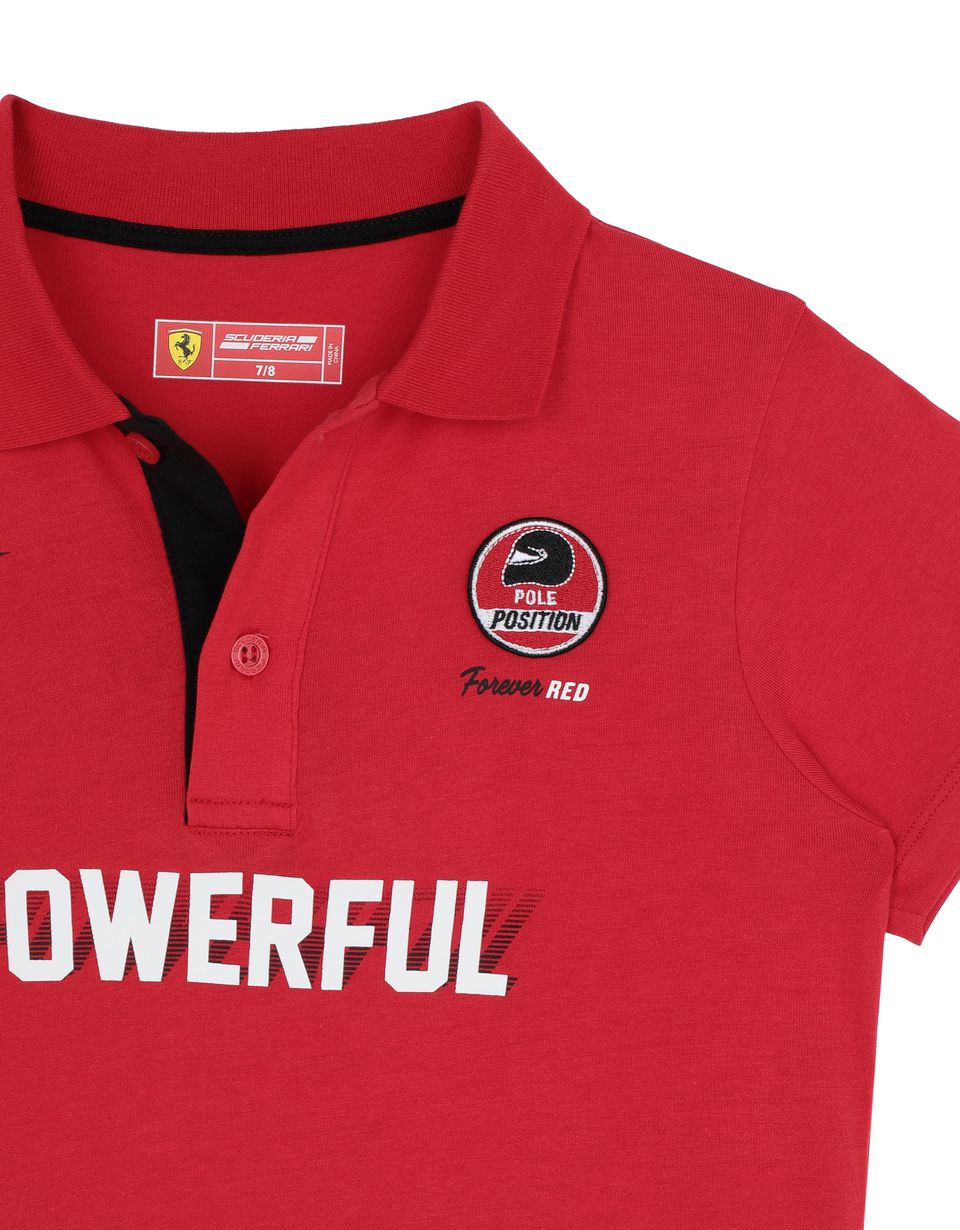 Scuderia Ferrari Online Store - Boys' jersey polo shirt with prints and patches -