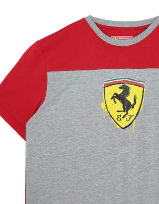 Scuderia Ferrari Online Store - Boys' cotton T-shirt with Shield - Short Sleeve T-Shirts
