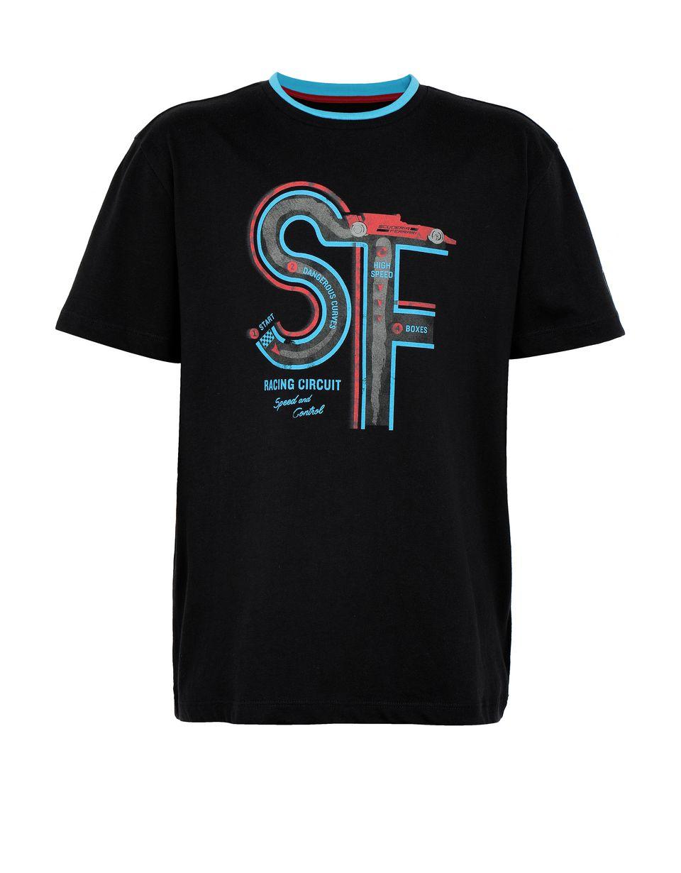 Scuderia Ferrari Online Store - レーシングサーキットのプリントをあしらったボーイズ(ティーン)Tシャツ - 半袖Tシャツ