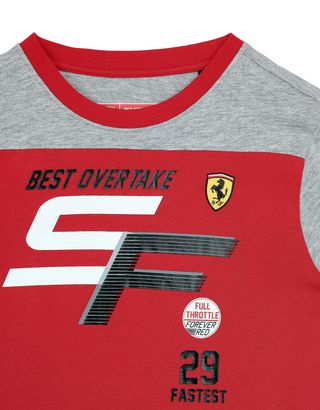 Scuderia Ferrari Online Store - Boys' long-sleeved T-shirt in stretch jersey - Long Sleeve T-Shirts