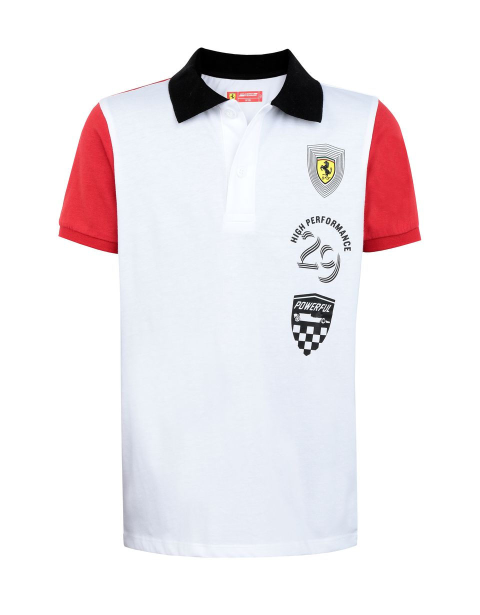 Scuderia Ferrari Online Store - Boys' polo shirt in cotton jersey - Short Sleeve Polos