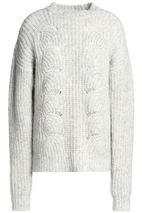 HOUSE OF DAGMAR Open knit-trimmed cotton, alpaca and wool-blend sweater