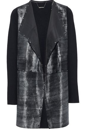 ELIE TAHARI Lakshmi studded calf hair-paneled merino wool jacket