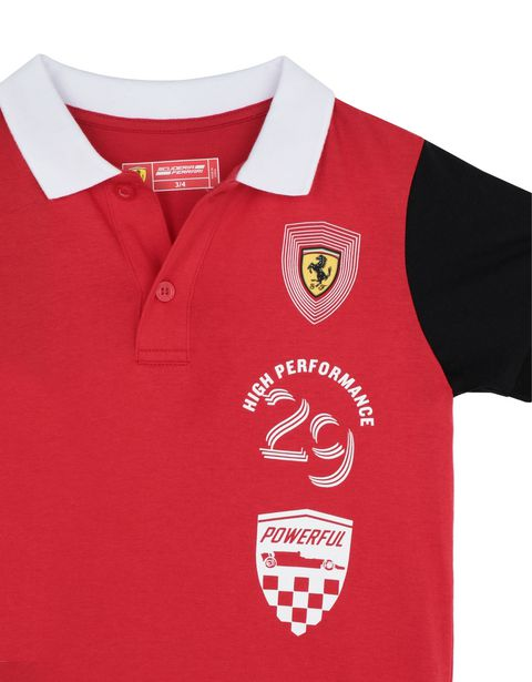 Scuderia Ferrari Online Store - Children's cotton jersey polo shirt - Short Sleeve Polos