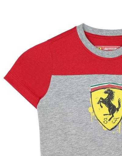 Scuderia Ferrari Online Store - T-shirt bambino in cotone con Scudetto - T-shirt manica corta