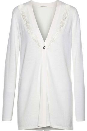 ELIE TAHARI Amber lace and crepe-paneled merino wool cardigan
