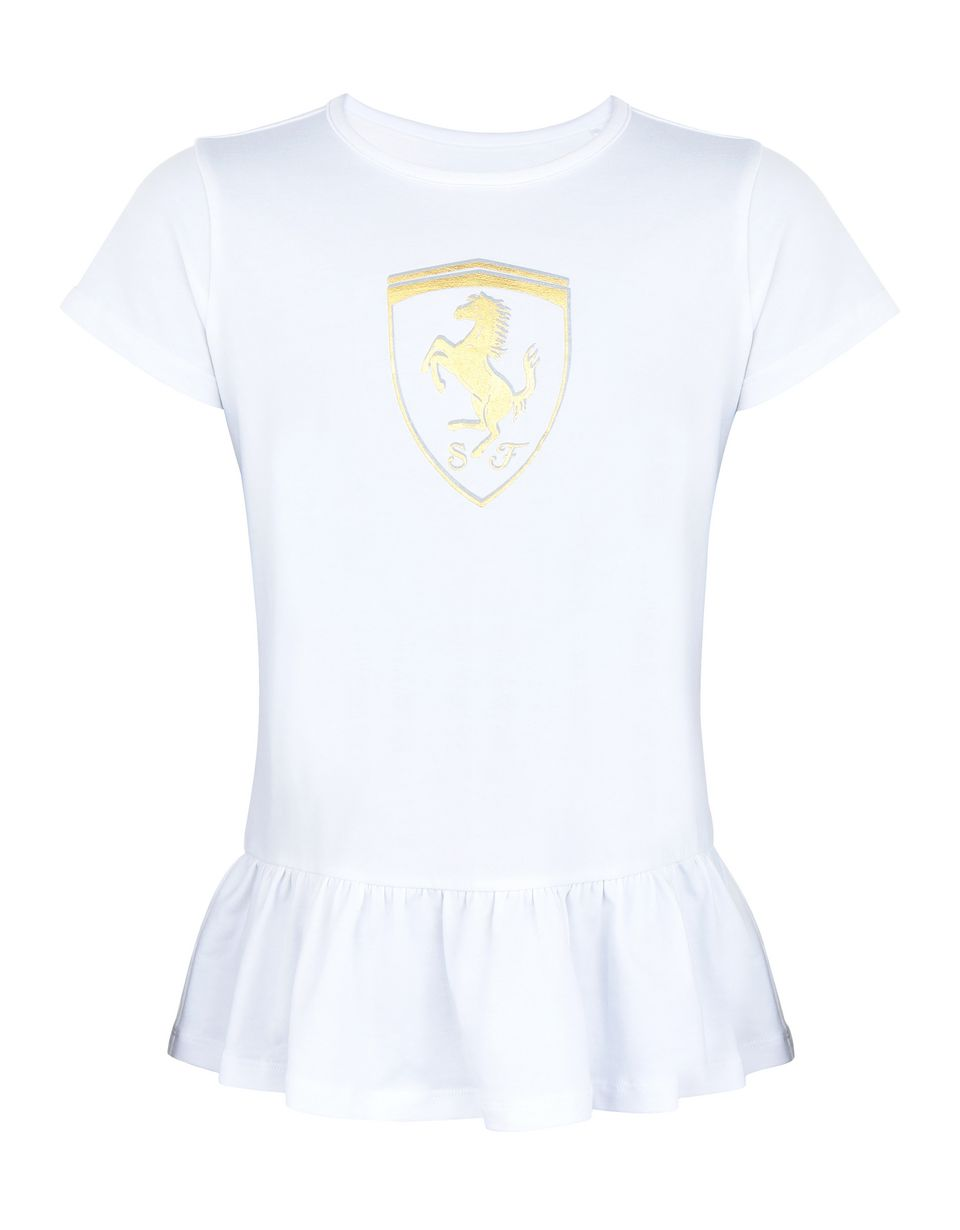 Scuderia Ferrari Online Store - Girls' T-shirt with flounces and gold-tone Shield - Short Sleeve T-Shirts