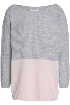 DUFFY Waffle knit-paneled two-tone cashmere sweater