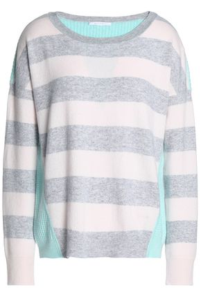DUFFY Waffle knit-paneled striped cashmere sweater