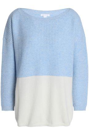 DUFFY Waffle knit-paneled two-tone cashmere sweater