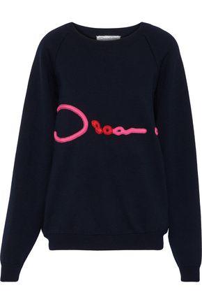OSCAR DE LA RENTA Appliquéd merino wool sweater