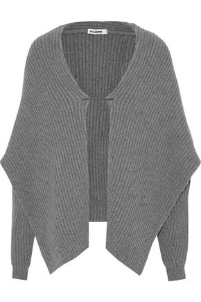 JIL SANDER Draped ribbed wool and cashmere-blend sweater