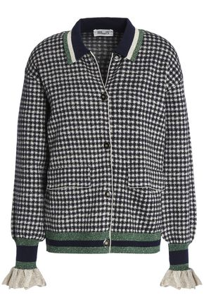 BAUM UND PFERDGARTEN Christie metallic-trimmed houndstooth knitted cardigan