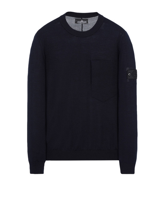 STONE ISLAND SHADOW PROJECT Jersey de cuello redondo 501A4 CATCH POCKET-T CREWNECK (VIRGIN WOOL/SILK BLEND)