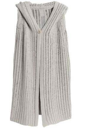 RICK OWENS Open-knit cotton-blend hooded cardigan