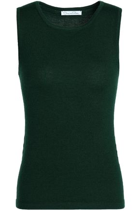 OSCAR DE LA RENTA Cashmere and silk-blend tank