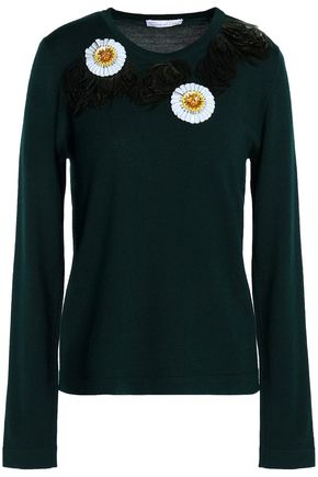 OSCAR DE LA RENTA Embellished wool sweater
