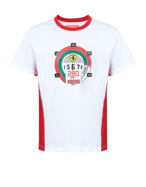 Boys' cotton T-shirt with speedometer print