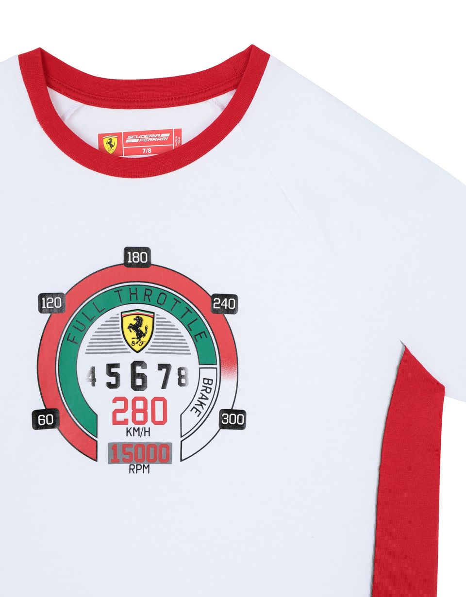 Scuderia Ferrari Online Store - Boys' cotton T-shirt with speedometer print - Short Sleeve T-Shirts