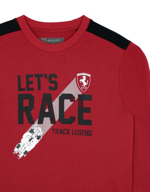 "Scuderia Ferrari Online Store - Boy's T-shirt with ""Let's race"" lettering - Long Sleeve T-Shirts"