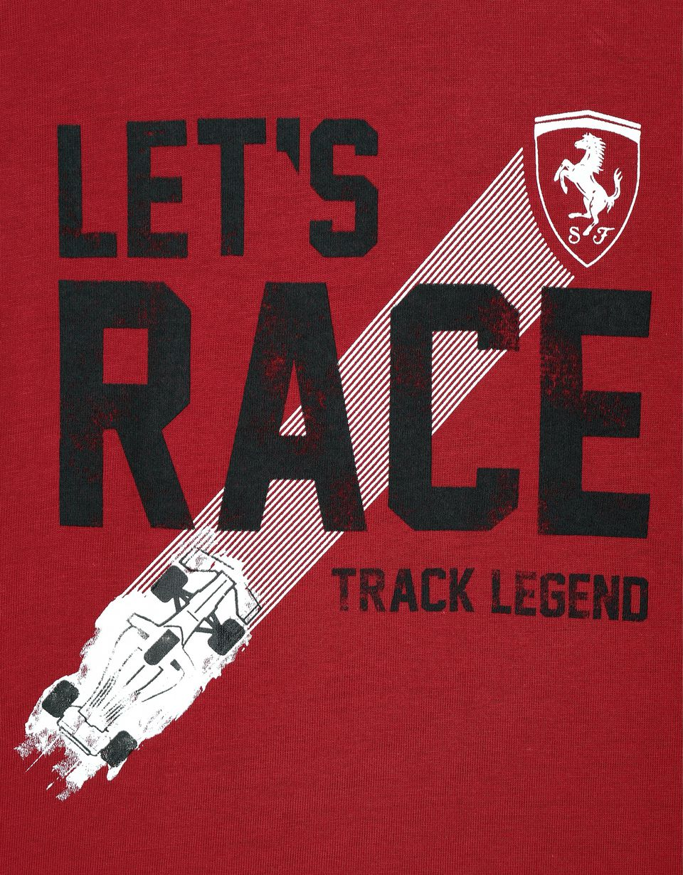 "Scuderia Ferrari Online Store - Boy's T-shirt with ""Let's race"" lettering -"