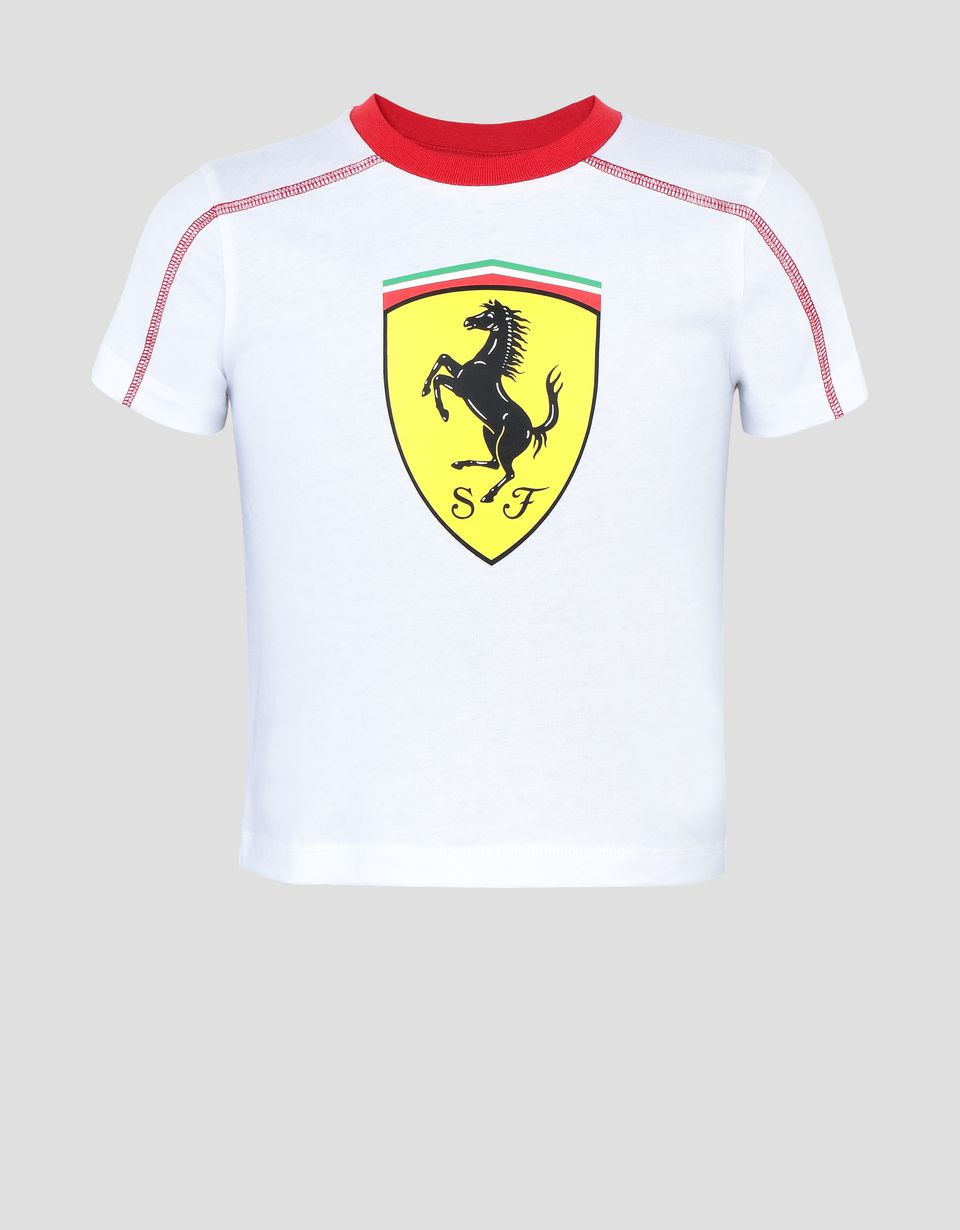 Scuderia Ferrari Online Store - Boys' cotton T-shirt with Shield - Short Sleeve T-Shirts
