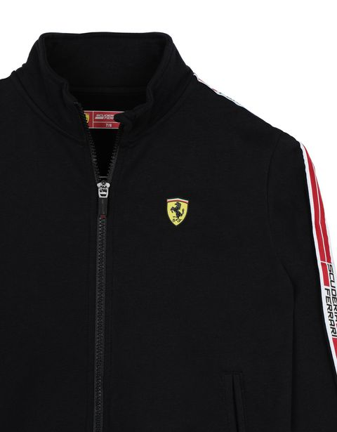 Scuderia Ferrari Online Store - Boys' cotton sweatshirt with <i>Icon Tape</i> - Zip Sweaters