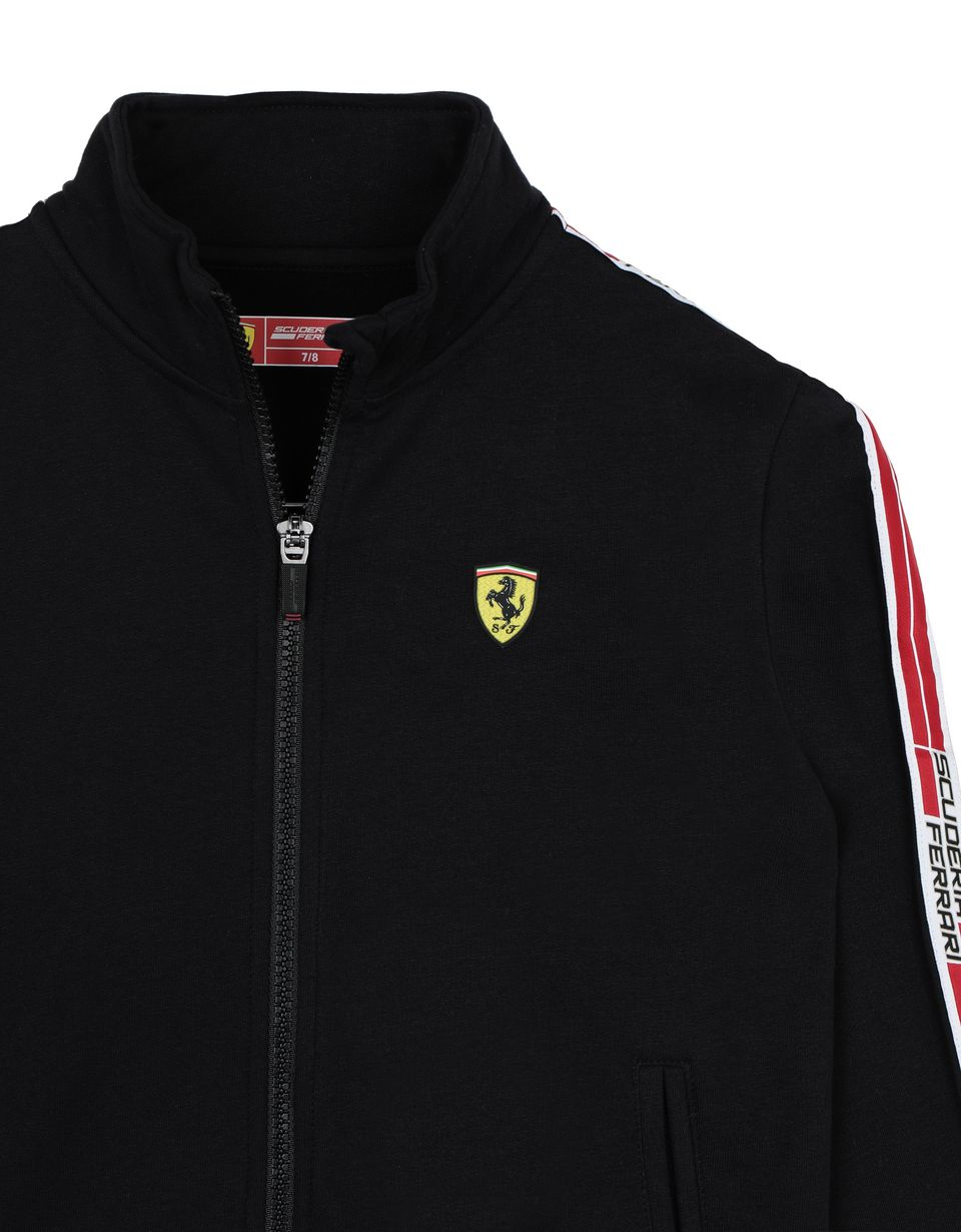 Scuderia Ferrari Online Store - Boys' cotton sweatshirt with <i>Icon Tape</i> - Zip Jumpers