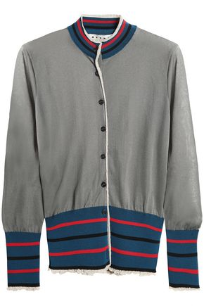 MARNI Striped stretch-knit cardigan