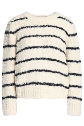 VINCE. Striped cotton-blend bouclé sweater