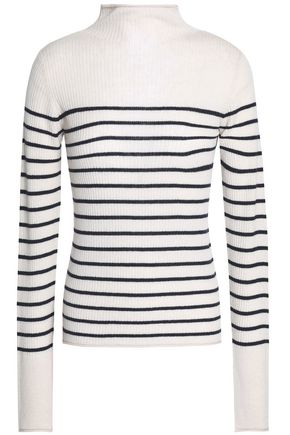 VINCE. Striped ribbed cashmere turtleneck sweater