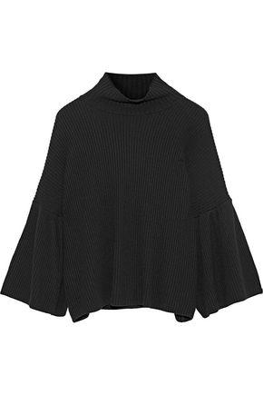 IRIS & INK ひだ入り リブ編みニット タートルネックセーター