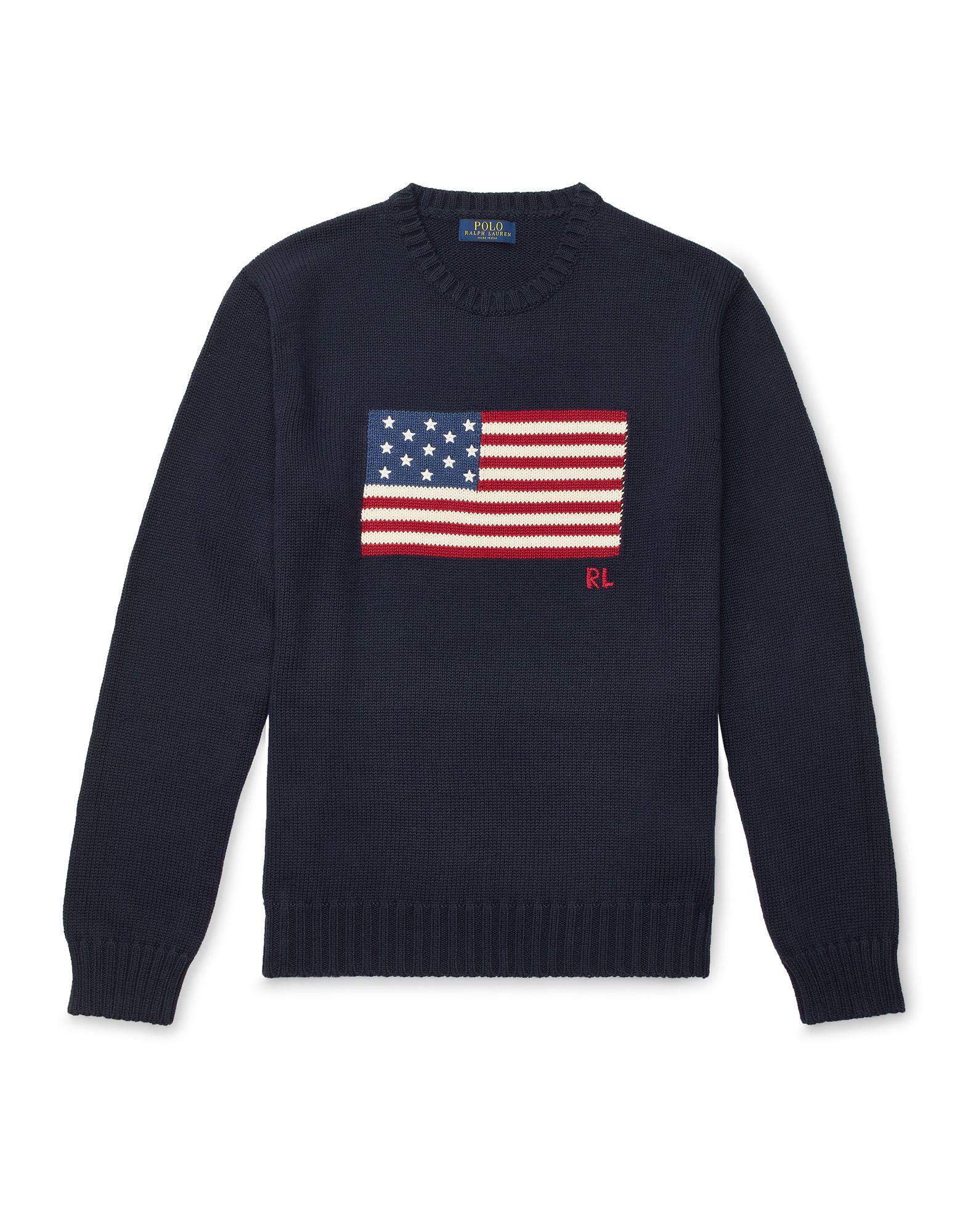 《セール開催中》POLO RALPH LAUREN メンズ プルオーバー ダークブルー XS コットン 100% The Iconic Flag Sweater