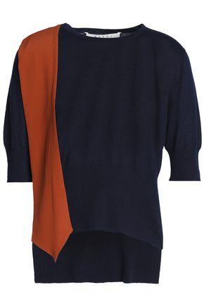 MARNI Crepe-paneled cashmere top