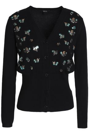 RAOUL Sequin-embellished embroidered cotton-blend cardigan