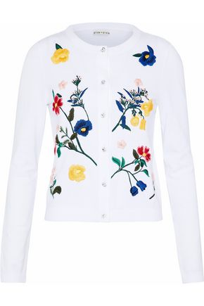 ALICE + OLIVIA Ruthy embroidered cotton-blend cardigan