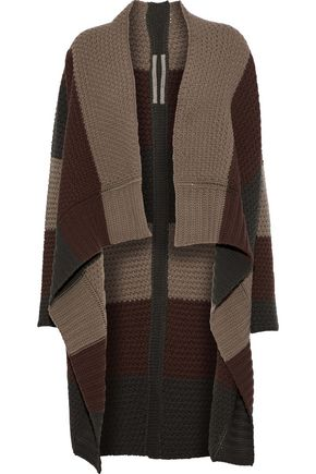 RICK OWENS Color-block knitted wool cardigan