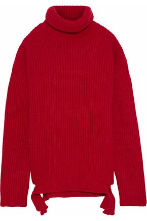 IRIS & INK Cherry ribbed merino wool turtleneck sweater