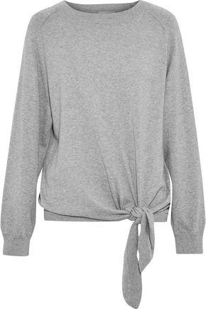 VINCE. Tie-front mélange cotton sweater
